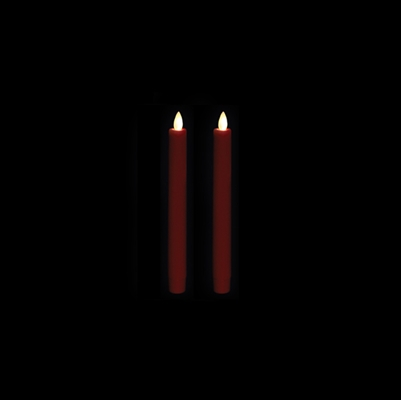 "Liown Moving Flame - Flameless LED Taper Candles (Pair) - Indoor - Unscented Red Wax - 7/8"" x 8"" - Remote Ready"