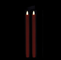 "Liown Moving Flame - Flameless LED Taper Candles (Pair) - Indoor - Unscented Red Wax - 7/8"" x 10"" - Remote Ready"
