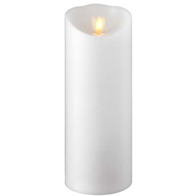"Liown - Moving Flame - Flameless LED Candle - Indoor - White Unscented Wax - Remote Ready - 3.5"" x 9"""