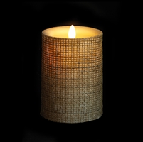 "Liown - Moving Flame - Flameless LED Candle - Indoor - Wax - Burlap - Remote Ready - 3.5"" x 5"""