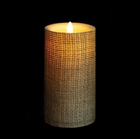 "Liown - Moving Flame - Flameless LED Candle - Indoor - Wax - Burlap - Remote Ready - 3.5"" x 7"""