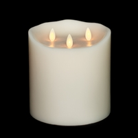 "Liown - Tri-Flame Moving Flame - Flameless LED Candle - Indoor - Unscented Ivory Wax - Remote Ready - 6"" x 6"""