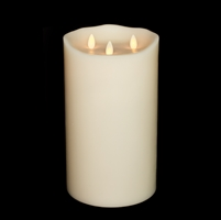 "Liown - Tri-Flame Moving Flame - Flameless LED Candle - Indoor - Unscented Ivory Wax - Remote Ready - 6"" x 10"""