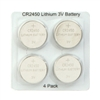Industry Standard CR2450 - 3.0V - Lithium Coin Cell Button Battery - 4-Pack