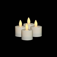 Liown - Flameless LED Tealights - Set of 4 x 1.5-Inch x 1.5-Inch Tealights - Ivory ABS Plastic - Remote Ready