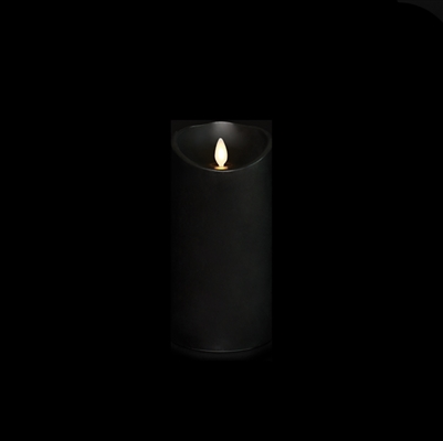 "Liown - Moving Flame - Flameless LED Candle - Indoor - Black Unscented Wax - Remote Ready - 3.5"" x 7"""