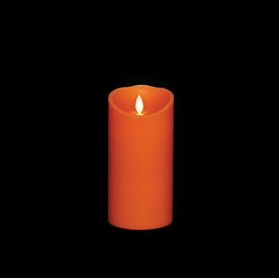 "Liown - Moving Flame - Flameless LED Candle - Indoor - Orange Wax - Pumpkin Spice Scented - Remote Ready - 3.5"" x 7"""