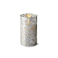 "Liown - Silver Mercury Glass - Moving Flame - Flameless LED Candle - Indoor - Unscented Wax - Remote Ready - 3.5"" x 6"""
