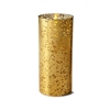 "Liown - Gold Mercury Glass Moving Flame - Flameless LED Candle - Indoor - Unscented Wax - Remote Ready - 3.5"" x 8"""