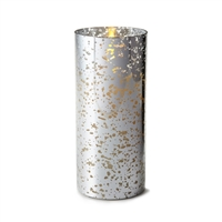 "Liown - Silver Mercury Glass Moving Flame - Flameless LED Candle - Indoor - Unscented Wax - Remote Ready - 3.5"" x 8"""