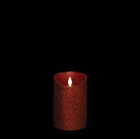 "Liown - Moving Flame - Flameless LED Candle - Indoor - Red Glitter Coating - Unscented Wax - Remote Ready - 3.5"" x 5"""