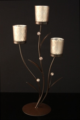 Tealight Candle Display Stand - Brocade Silver - Painted Brown Metal With Glass Cups - Holds 3 Tealights