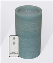 "AquaFlame - Flameless LED Candle Fountain - Blue Wax - Fresco Finish - 4.2"" x 7.8"" - Remote Control"