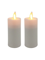Mystique - Flameless LED Candles - Set of 2 x 3-Inch Votives - Ivory ABS Plastic - Remote Ready