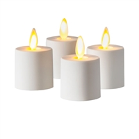 Luminara - Flameless LED Tealights - Set of 4 x 1.25-Inch x 1.44-Inch Battery Operated Tealights - Ivory ABS Plastic - Remote Ready