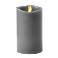 "Luminara - 360-Degree Flameless LED Candle - Indoor - Unscented Gravel Grey Wax - Remote Ready - 3"" x 4"""