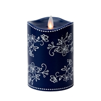 "Temp-tations by Tara - Flameless LED Candle - Indoor - Wax - Floral Lace Blue - 3.25"" x 5"" - Remote Ready"