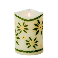 "Temp-tations by Tara - Flameless LED Candle - Indoor - Ivory Wax - Old World Green Pattern - 3.25"" x 5"" - Remote Ready"