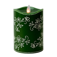 "Temp-tations by Tara - Flameless LED Candle - Indoor - Wax - Floral Lace Green - 3.25"" x 5"" - Remote Ready"