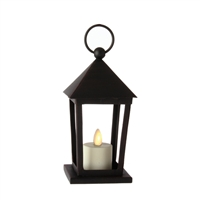 "Liown - Flameless LED Tealight Candle Lantern - Black Metal - 4"" Square x 6"" Tall"