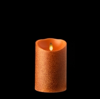 "Liown - Moving Flame - Flameless LED Candle - Indoor - Orange Glitter Coating - Unscented Wax - Remote Ready - 3.5"" x 5"""