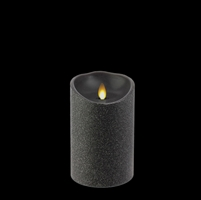 "Liown - Moving Flame - Flameless LED Candle - Indoor - Black Glitter Coating - Unscented Wax - Remote Ready - 3.5"" x 5"""