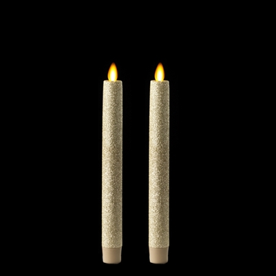 "Liown Moving Flame - Flameless LED Taper Candles (Pair) - Indoor - Unscented Tiffany Glitter Coated - 7/8"" x 8"" - Remote Ready"