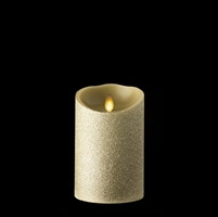 "Liown - Moving Flame - Flameless LED Candle - Indoor - Tiffany Colored Glitter Coating - Unscented Wax - Remote Ready - 3.5"" x 5"""