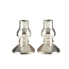 "Pair of Antiqued Glass Taper Candle Holders - Champagne Color - 3"" x 4.5"""
