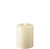 "Liown - Moving Flame - Flameless LED Candle - Indoor - Ivory Wax - Flat Top - Remote Ready - 3.5"" x 5"""