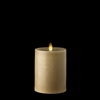 "Liown - Moving Flame - Flameless LED Candle - Indoor -  Chalky Finish - Light Taupe Unscented Wax - Flat Top - Remote Ready - 3.5"" x 5"""
