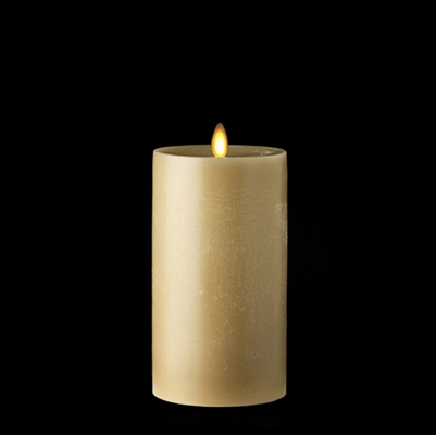 "Liown - Moving Flame - Flameless LED Candle - Indoor -  Chalky Finish - Light Taupe Unscented Wax - Flat Top - Remote Ready - 3.5"" x 7"""