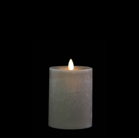 "Liown - Moving Flame - Flameless LED Candle - Indoor -  Chalky Finish - Light Grey Unscented Wax - Flat Top - Remote Ready - 3.5"" x 5"""