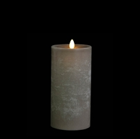 "Liown - Moving Flame - Flameless LED Candle - Indoor -  Chalky Finish - Light Grey Unscented Wax - Flat Top - Remote Ready - 3.5"" x 7"""