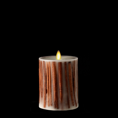 "Liown - Moving Flame - Flameless LED Candle - Indoor -  Embedded Cinnamon Sticks - Ivory Unscented Wax - Flat Top - Remote Ready - 3.5"" x 5"""