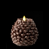 "Liown - Moving Flame - Flameless LED Candle - Indoor -  Pine Cone Shaped - Brown Unscented Wax w/ Glitter - Flat Top - Remote Ready - 4.5"" x 4.5"""