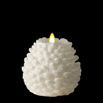 "Liown - Moving Flame - Flameless LED Candle - Indoor -  Pine Cone Shaped - White Unscented Wax w/ Glitter - Flat Top - Remote Ready - 4.5"" x 4.5"""