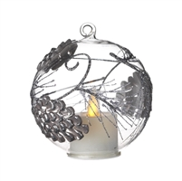 Liown - Pinecone Ornament With Non-Moving Flame LED Tealight - 3.5-Inch Diameter Glass Globe - Remote Ready