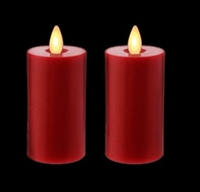 Liown - Moving Flame - Flameless LED Candles - Pair of 2-Inch x 3.5-Inch Votives - Indoor - Real Red Unscented Wax - Remote Ready