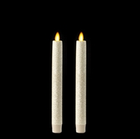 "Liown Moving Flame - Flameless LED Taper Candles (Pair) - Indoor - Unscented Pearl Glitter Coated - 7/8"" x 8"" - Remote Ready"