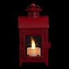 "Liown - Flameless LED Tealight Candle Lantern - Red Rustic Metal - 3"" Square x 6"" Tall"