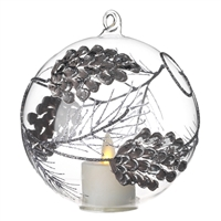 Liown - Pinecone Ornament With Non-Moving Flame LED Tealight - 5-Inch Diameter Glass Globe - Remote Ready