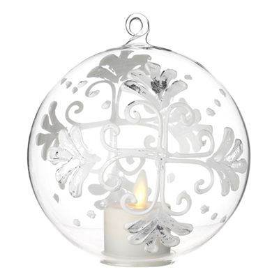 Liown - Snowflake Ornament With Non-Moving Flame LED Tealight - 5-Inch Diameter Glass Globe - Remote Ready