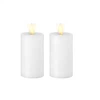 Liown - Moving Flame - Flameless LED Candles - Pair of 2-Inch x 3.5-Inch Votives - Indoor - Real White Unscented Wax - Remote Ready