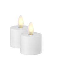 """New Liown 1.5/"""" Set of 2 Moving Flame White Tea Light Battery Candle 37061"""