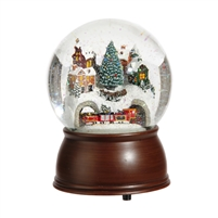 "RAZ Imports - 6.5"" Wind Up Musical House and Rotating Train Water Snow Globe - Plays ""Over the River and Through the Woods"""