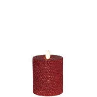 "Liown - Moving Flame - Flameless LED Candle - Indoor - Honeycomb Wax - Red Glitter Coating - Unscented - Remote Ready - 3.25"" x 4.5"""