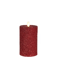 "Liown - Moving Flame - Flameless LED Candle - Indoor - Honeycomb Wax - Red Glitter Coating - Unscented - Remote Ready - 3.25"" x 6"""