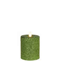"Liown - Moving Flame - Flameless LED Candle - Indoor - Honeycomb Wax - Green Glitter Coating - Unscented - Remote Ready - 3.25"" x 4.5"""