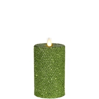 "Liown - Moving Flame - Flameless LED Candle - Indoor - Honeycomb Wax - Green Glitter Coating - Unscented - Remote Ready - 3.25"" x 6"""